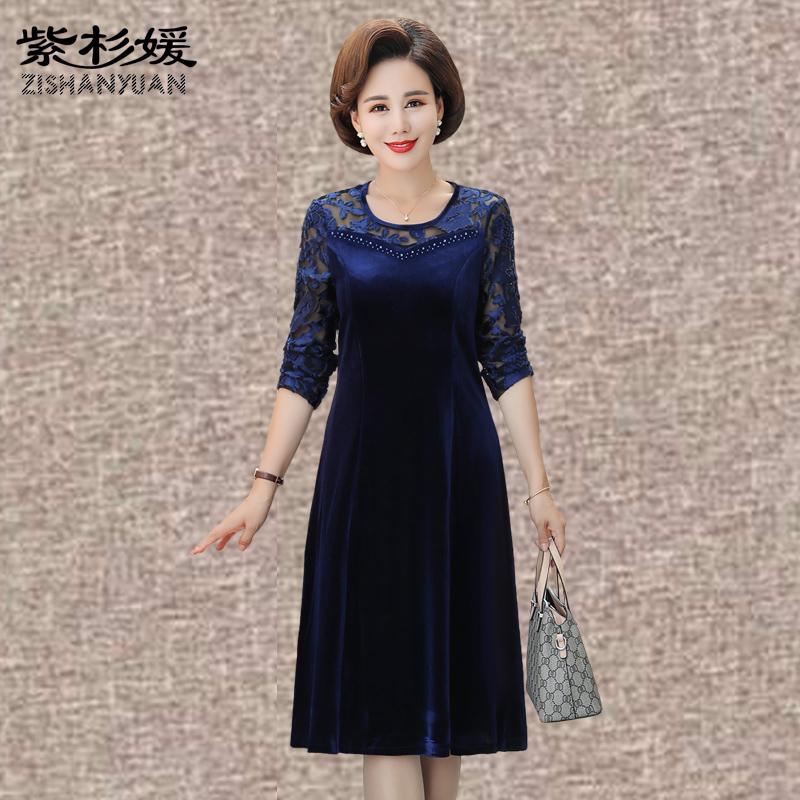 妈妈装秋季金丝绒连衣裙中长款40-50-60岁中老年女装蕾丝修身裙子