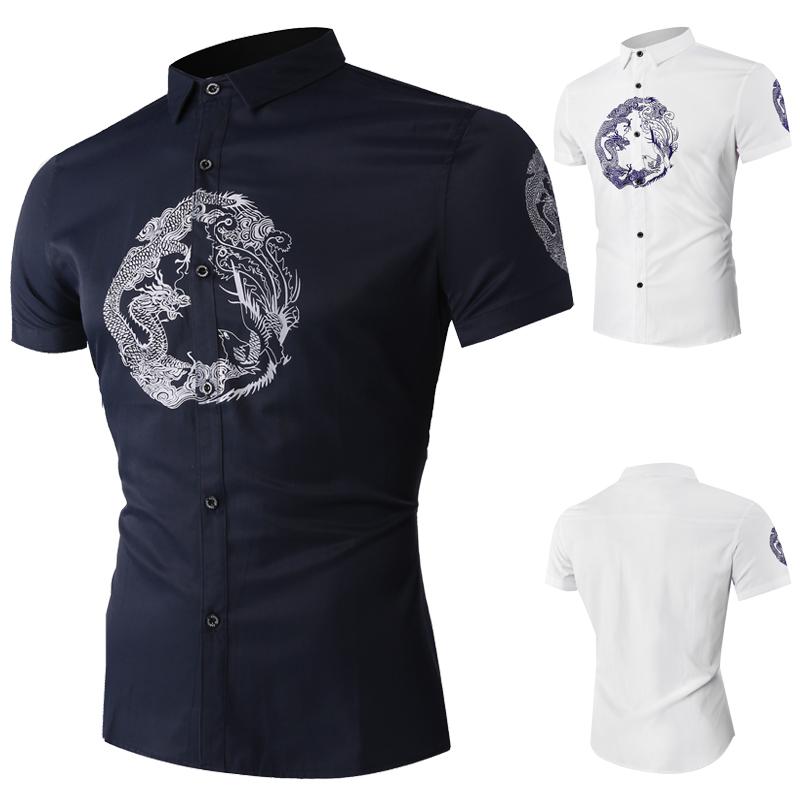 夏季外贸男装衬衣时尚盘龙印花男士短袖衬衫男1608-1-DC149-P35