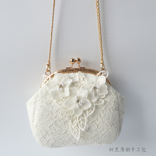 树里原创手工立体花朵蕾丝订珠包包 新款斜挎包女 迷你链条小圆包