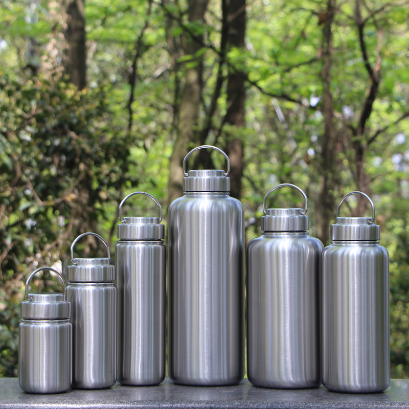 Single layer water cup summer 304 steel 2.4 l external thread non thermal insulation outdoor super large capacity wide mouth sports pot water bottle