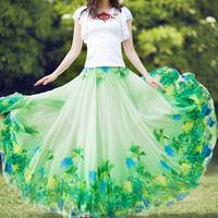 2020年春季新款波西米亞碎花仙女超仙夏季雪紡中長款紗裙半身裙子