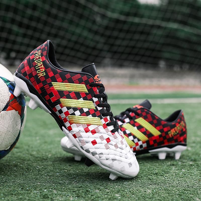青少年足球鞋男子人造草地AG长钉女中学生训练鞋成人儿童皮足球鞋