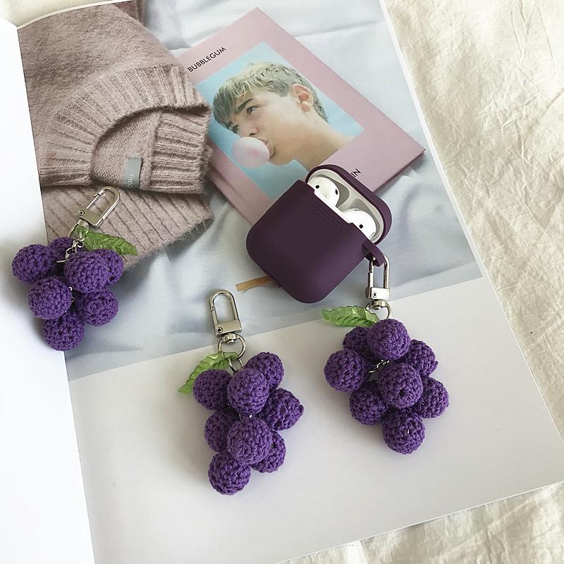 ins原创韩国针织毛线巨峰葡萄airpods蓝牙耳机保护套挂件可爱钥匙