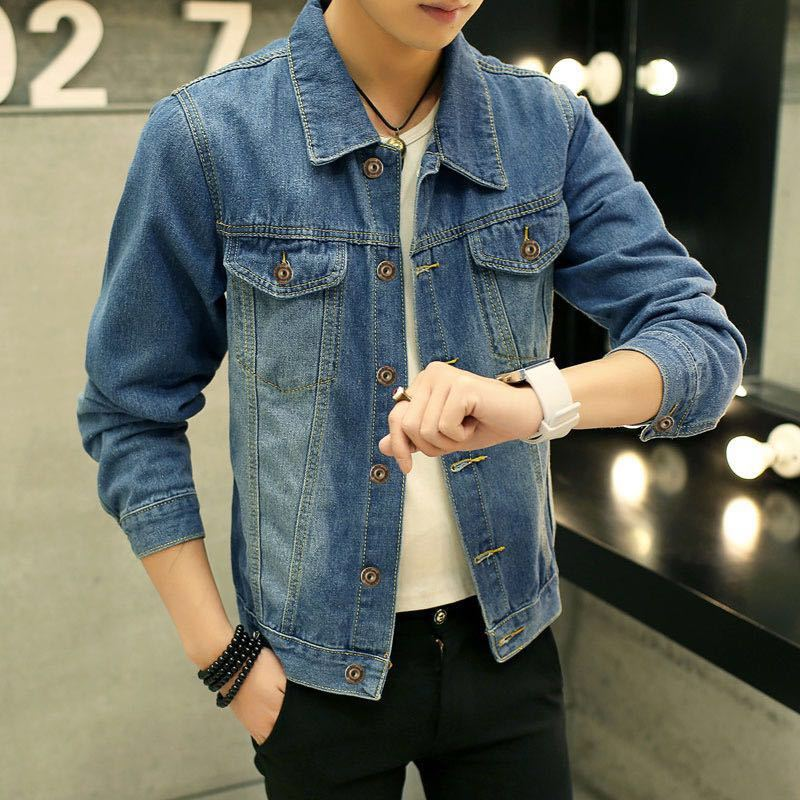 2019 spring and autumn mens Korean casual mens jeans jacket slim long sleeve jacket mens clothes are fashionable and versatile