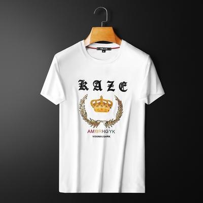 D323 8064 P70挂拍 白色 21春夏新款刺绣亮片丝光棉男士短袖t恤