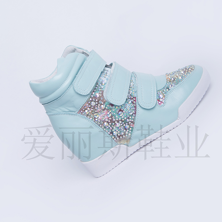 Limited time to kill 2020 spring high top color matching water diamond leather Velcro single shoes