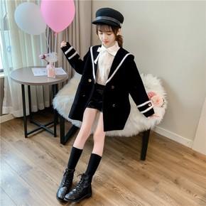 女童亲子装学院风呢大衣2020韩版儿童显瘦中长款外套中大童风衣潮