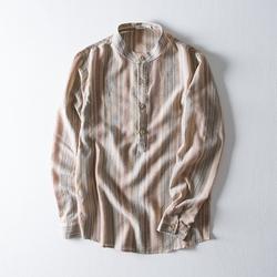 2020秋季新款棉麻色织彩条男士衬衫条纹长袖立领衬衣M2922P79
