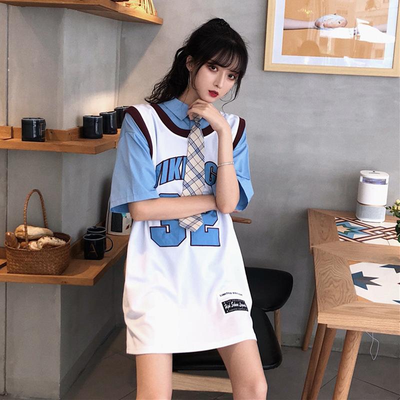 时尚百搭纯色领带衬衫宽松数字印花拼色遮臀背心套装夏装2018新款