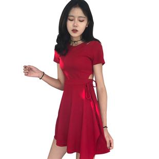 韓版chic風復古小心機性感鏤空顯瘦繫帶小黑裙秋冬修身短袖連衣裙