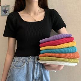 洋气方领锁骨短袖针织衫女夏季2020新款韩版修身显瘦短款紫色上衣