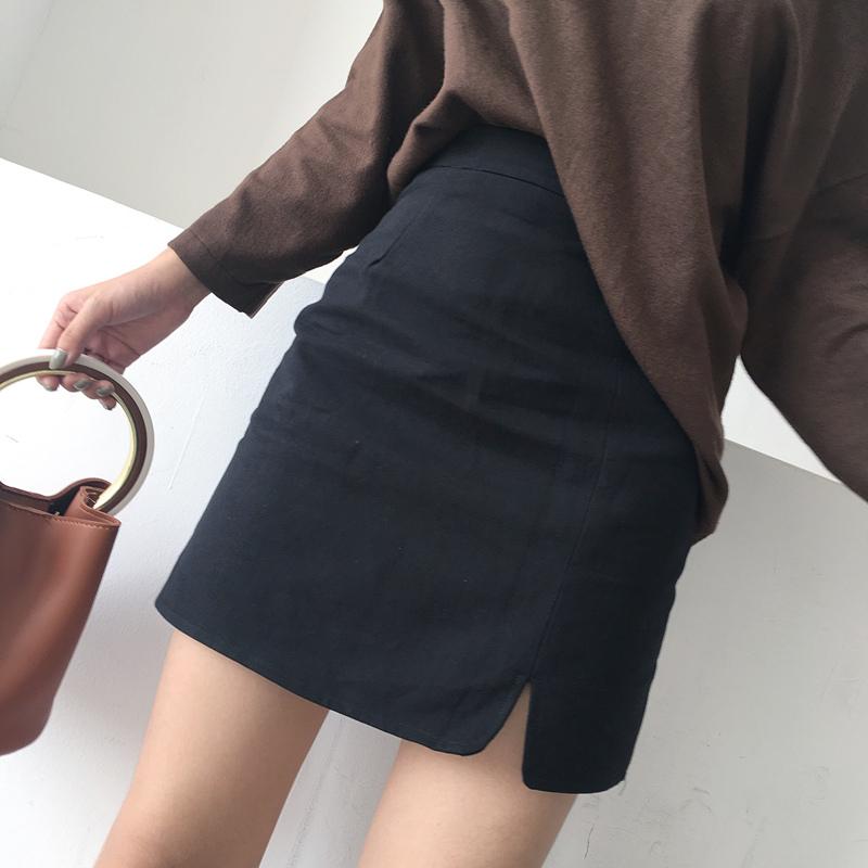 秋装新款韩版复古chic高腰修身百搭开衩半身裙简约包臀裙a字短裙