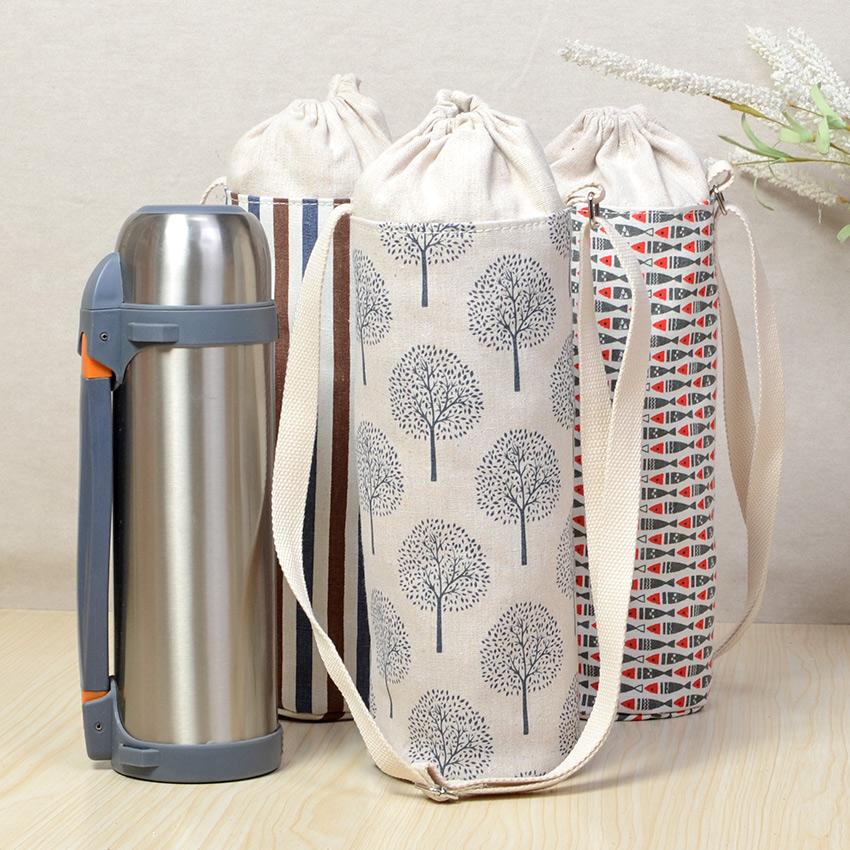 便攜1.2L戶外保溫壺保護套杯套旅行大容量束口棉麻布水壺套水瓶袋