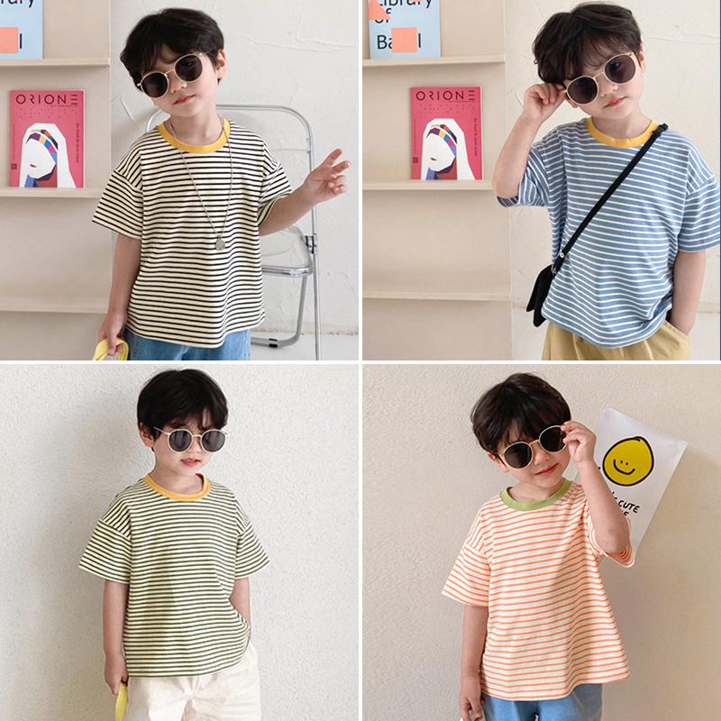 短袖t恤男童夏装新款条纹潮打底衫