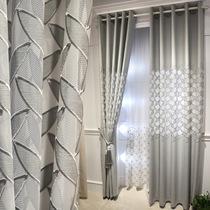 轻奢高档大气镂空绣花灰色窗帘北欧简约现代客厅欧式双层纱帘定制