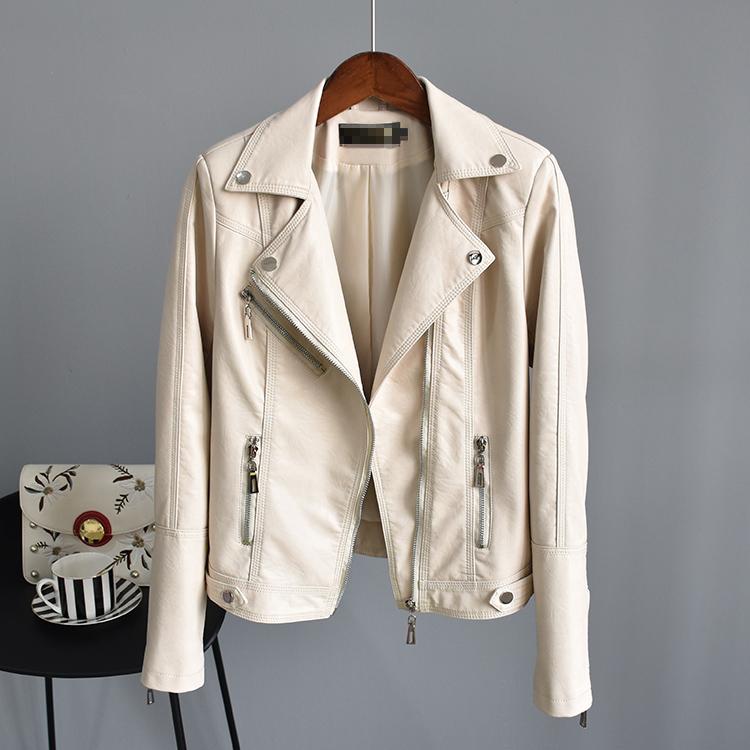 2021春装新铆钉西装领修身短款皮衣外套女薄款水洗PU皮机车皮夹克