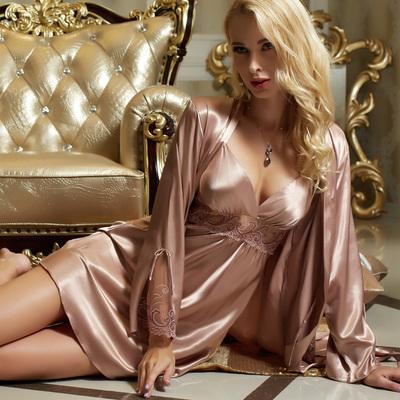 春秋睡衣女夏大码胖mm真丝性感吊带睡裙睡袍两件套丝绸冰丝蕾丝冬