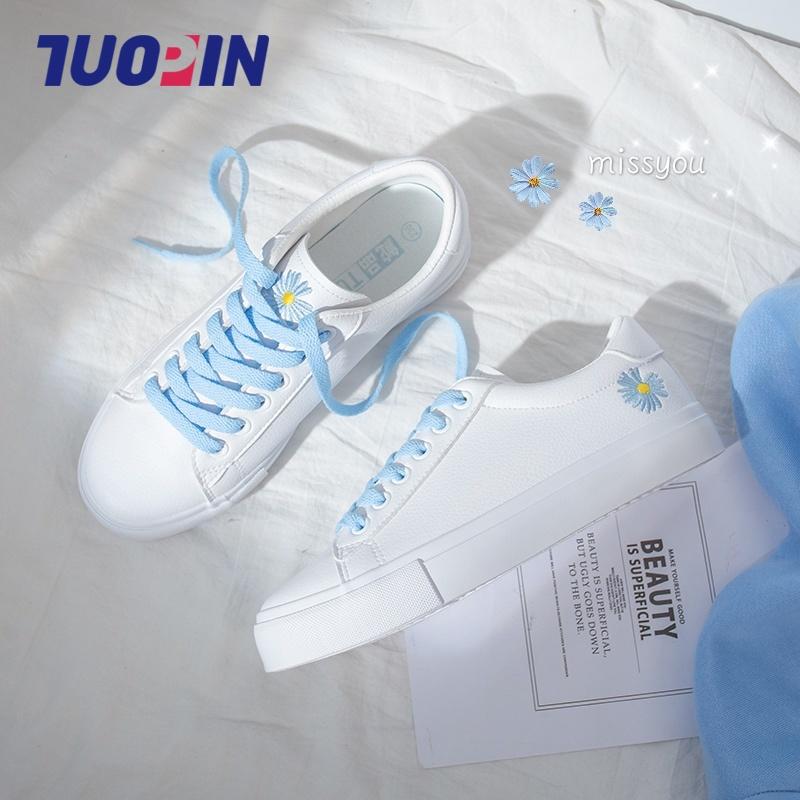 鮀品小雏菊小白鞋女鞋子2020年新款夏季薄款白鞋学生百搭平底板鞋图片