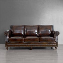 美式头层牛皮客厅沙发欧式皮艺三人位123组合真皮沙发复古油蜡皮