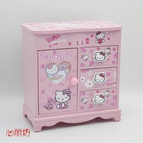 心丽坊KT凯蒂猫首饰盒收纳木质公主欧式韩国项链手饰品盒儿童礼物