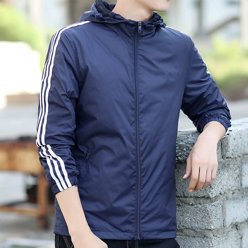 Outdoor sports windbreaker net thin coat mens spring and autumn waterproof running coat anti ultraviolet sunscreen clothing