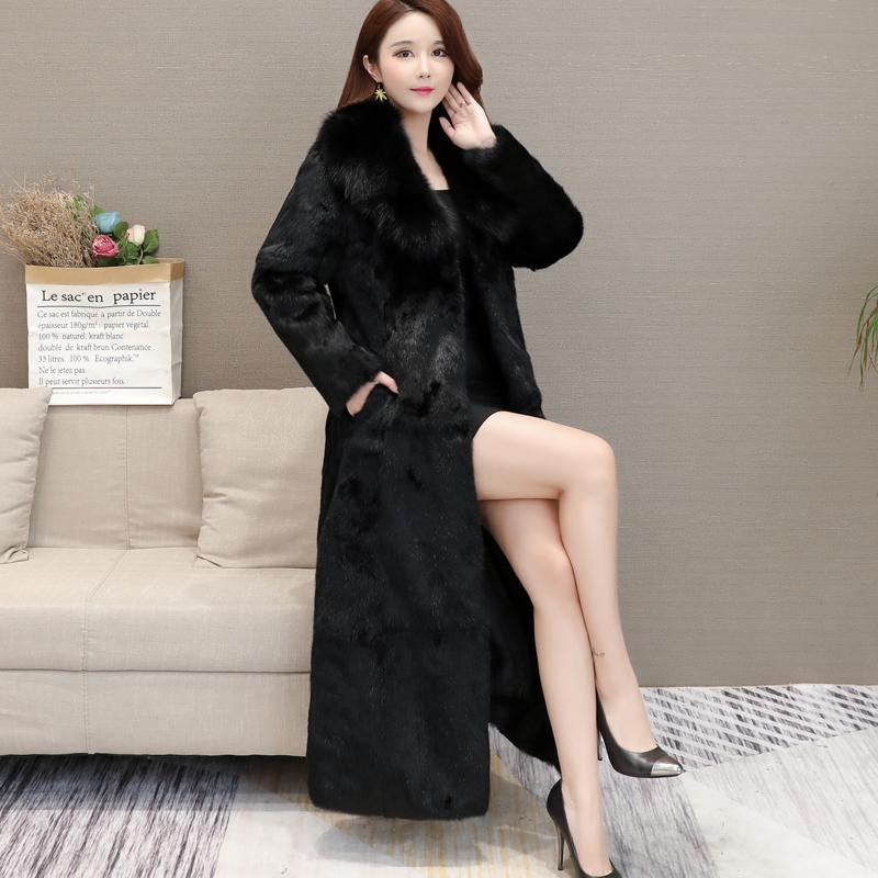 Rabbit fur coat womens new winter 2020 young fox fur collar over the knee Haining fur one long coat