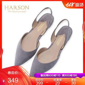 哈森夏季新款休闲羊皮包头后空女鞋