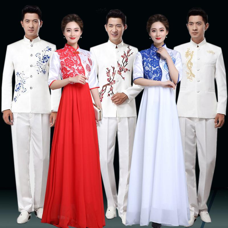 new dress choir costume female long skirt long Chinese style men and women blue and white porcelain ancient