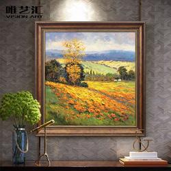 纯手绘丰收风景油画 客厅壁画美式沙发背景装饰画玄关餐厅挂画