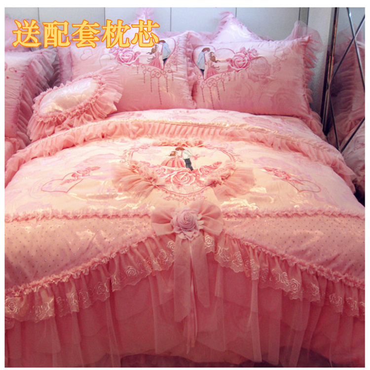 Wedding bedding 4 sets of pure cotton lace bedspread quilt cover wedding bedding 678 sets of big red pink