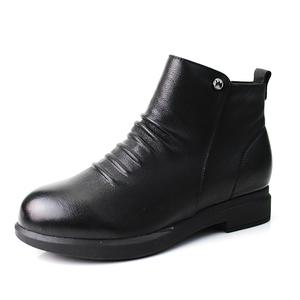领10元券购买奥康冬款牛皮舒适休闲绒里黑色短靴