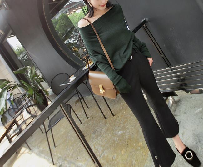 ◆MMCO2018A/W◆秋季推荐新品 超显瘦百搭 圆扣腰带设计小喇叭裤