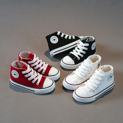 框威美国儿童帆布鞋高帮男童板鞋2019新款秋韩版百搭潮鞋女童布鞋