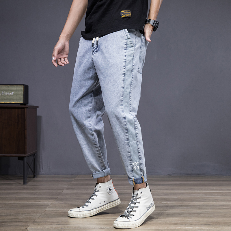 New jeans mens 9-point panel printing elastic feet plus fat loose Japanese fashion brand fat loose ash