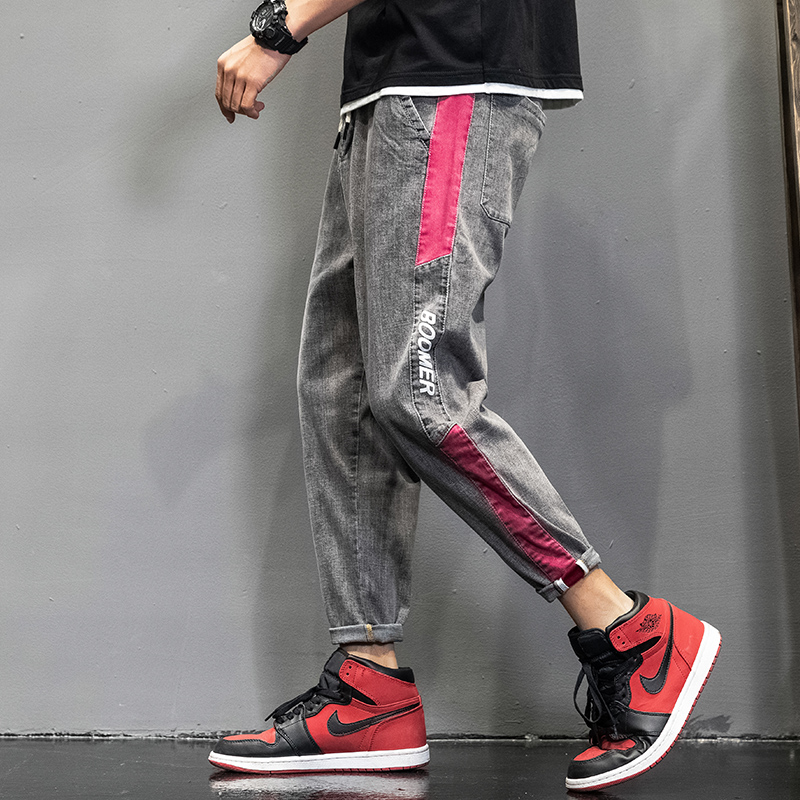 Mens new youth fashion summer patchwork printed jeans 9-point Leggings trend Harun pants mens pants