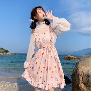 草莓塔lolita内搭雪纺衫甜美风两件套小个子洋装日常公主裙仙女裙