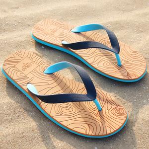 路拉迪人字拖男士夏季木纹凉拖鞋防滑平跟夹脚凉鞋沙滩鞋欧美潮流