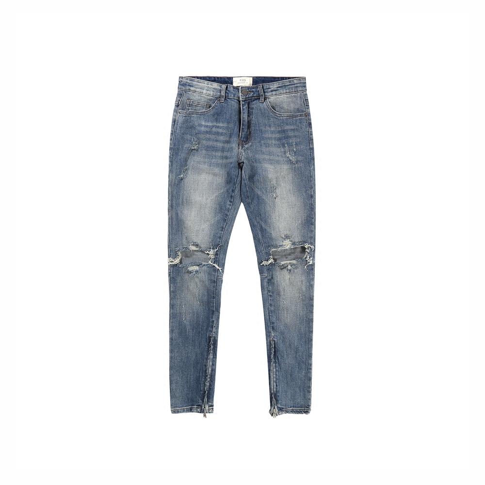欧美高街kanye侃爷膝盖破洞侧拉链男士修身牛仔裤 FOG小脚裤长裤