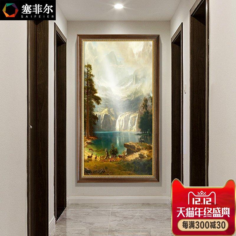 墙欧式走廊过道风景壁画手绘美式客厅挂画竖版玄关装饰画山水油画