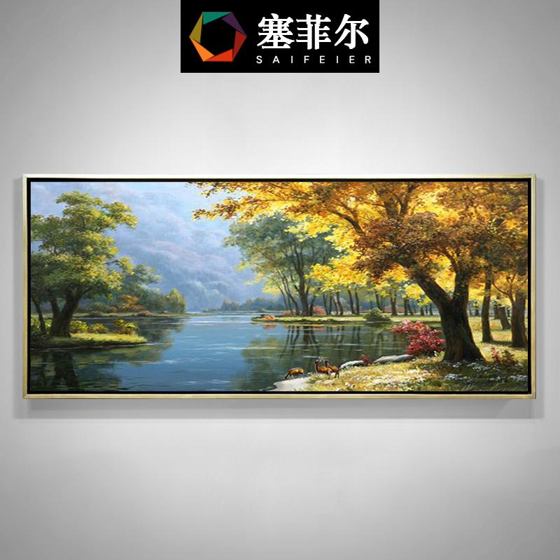聚寶盆純手工手繪油畫麋鹿掛畫歐式山水風景美式客廳發財樹裝飾畫