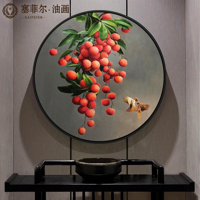 手绘油画新中式玄关美式圆形挂画