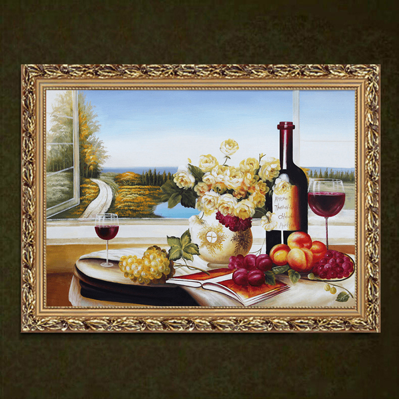 餐厅油画手绘欧式客厅装饰画美式现代简约走廊过道饭北欧挂画壁画图片