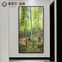 手绘油画新中式玄关风景装饰画节节高升挂画现代走廊过道壁画竹子