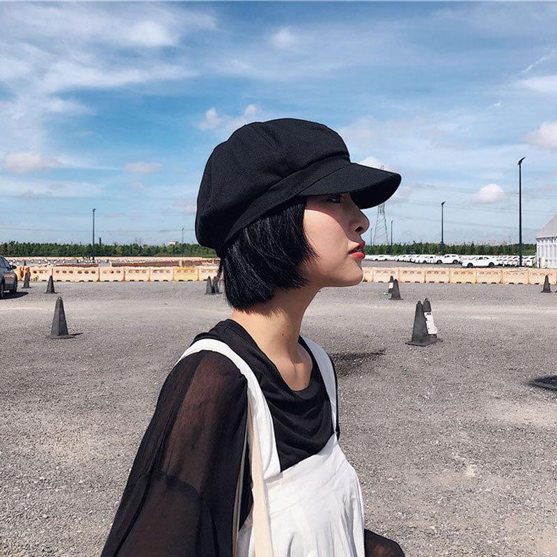 贝雷帽女春秋韩版八角帽日系黑色报童学生画家帽复古百搭鸭舌帽子