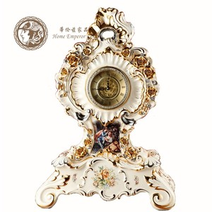 欧式皇庭座钟静音台钟闹钟陶瓷捏花创意客厅玄关台面摆件家居饰品
