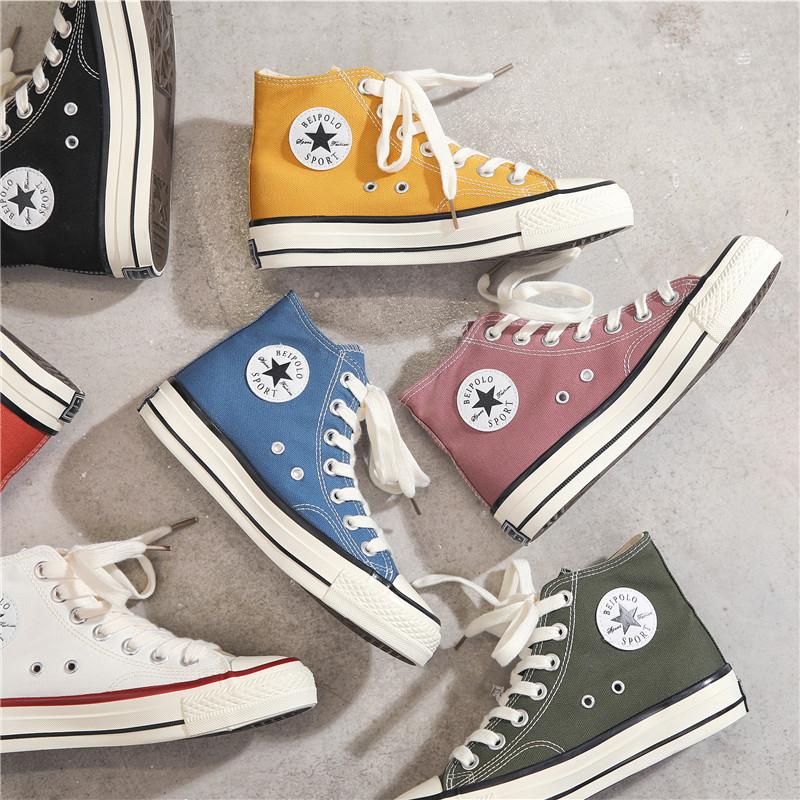 1970s复古高帮休闲板鞋万年经典款帆布鞋2019韩版学生鞋小白鞋子