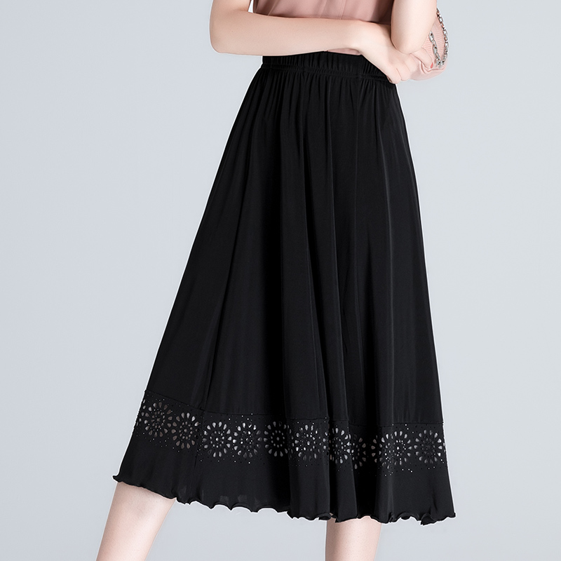 Moms skirt half length skirt womens summer thin middle-aged and old peoples high waist versatile mid long knee temperament dance skirt