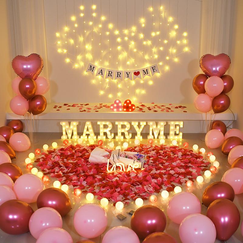 求婚创意布置用品道具浪漫惊喜场景字母灯表白装饰灯卧室生日布置图片