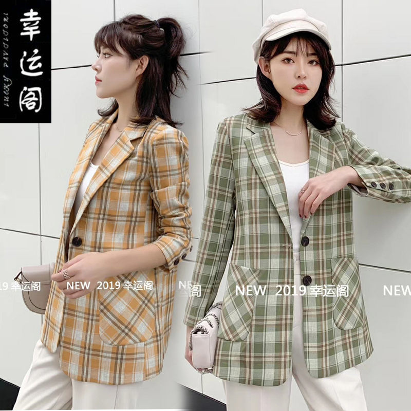 Lucky Pavilion 0808 suit jacket autumn 2020 new versatile Plaid single row two button temperament Blazer
