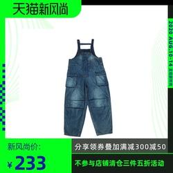 薄款吊带连体裤蓝布屋美式复古潮男水洗宽松工人背带裤牛仔裤男
